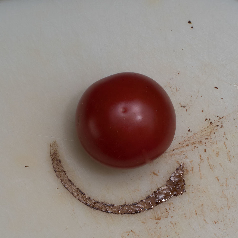 Clown's Nose Breakfast Close-up Day Flash Photography Food Food And Drink Freshness Fruit Healthy Eating Indoors  Keep Smiling Kitchen Kitchen Art Morning No People Optimistic Red Studio Shot Tomato Vinegar White Background