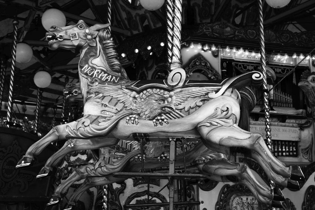 'Carousel Horse' Black And White British Carousel Carousel Horse Fairground Fairground Attraction Fairground Fun Fairground Ride Fayre First Eyeem Photo Fun Heritage Horse Monochrome Old Fashioned Olde Worlde Ride Vintage