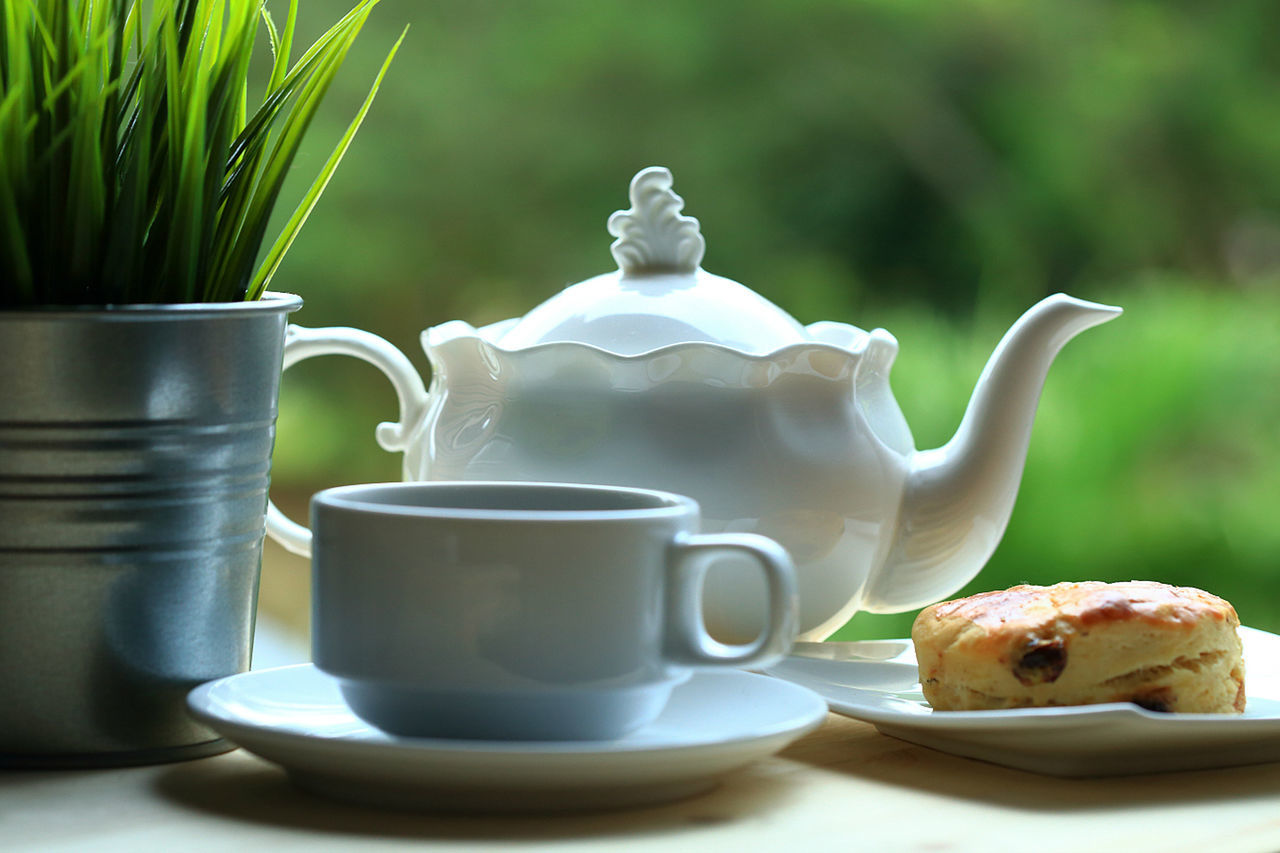 White tea set with teapot and cup and scone on white plate placed on wooden table with green background. Afternoon Tea Beautiful Day Bokeh Close-up Coffee Cup Day Dessert Drink Evening Sky Food Food And Drink Food And Drink Photography Natural Lighting No People Outdoors Porcelain  Pour Spout Relaxing Scenics Tea - Hot Drink Tea Ceremony Tea Cup Teapot White