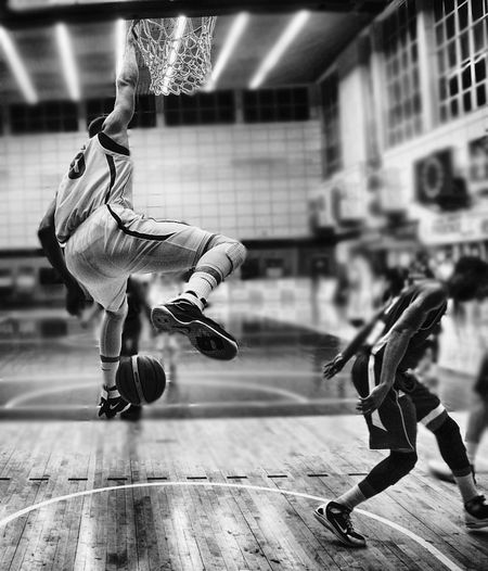 FLIGHT Against Gravity Basketball Basketball Game Black And White Close-up Flight Full Length Grace Indoors  JournalismPhotography Jump Jumping Men Motion One Person People Sport Sportman Sports Venue