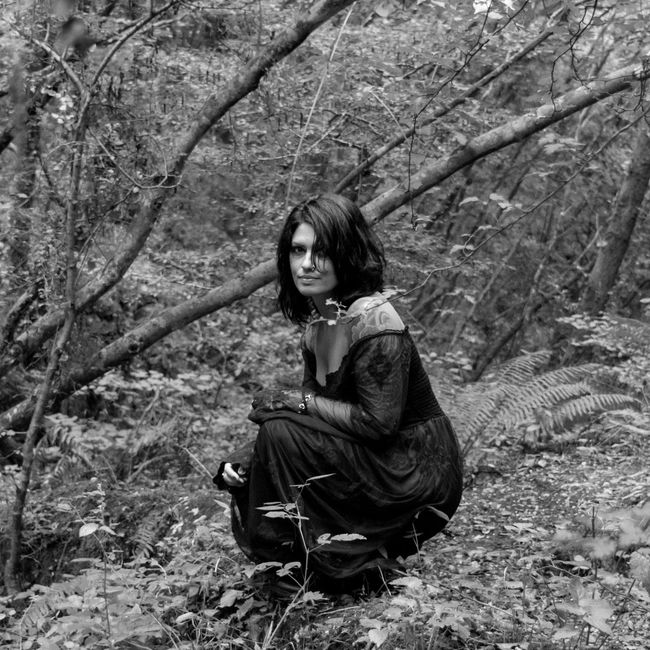 Black Black And White Forest Monochrome Photography Nature Non-urban Scene Portrait Sitting Squareinstapic Woman People