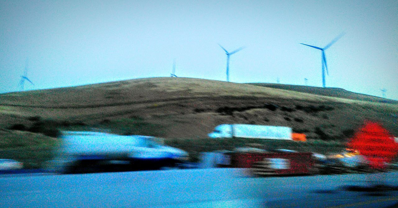 Motion Photography Trucks Cars Highway 580 Highway Photography Freeway Scenery Freeway Drives Car Ride  Need For Speed Wind Turbines Grassy Hillside