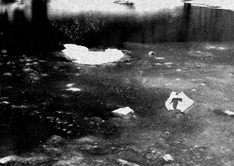 corner of the Hudson River with chunks of ice this morning Hudson River Ice Winter Water River Reflection Water Reflections Blackandwhite Bnw Bw_collection