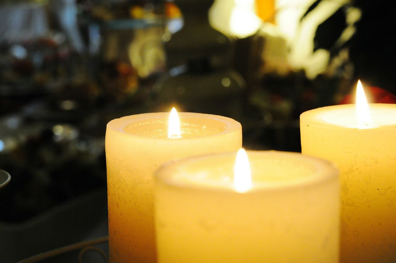 Candles Three Candles Candle Flame Candle Light Restaurant Romantic Romantic Mood EyeEm Best Shots Yellow The Culture Of The Holidays
