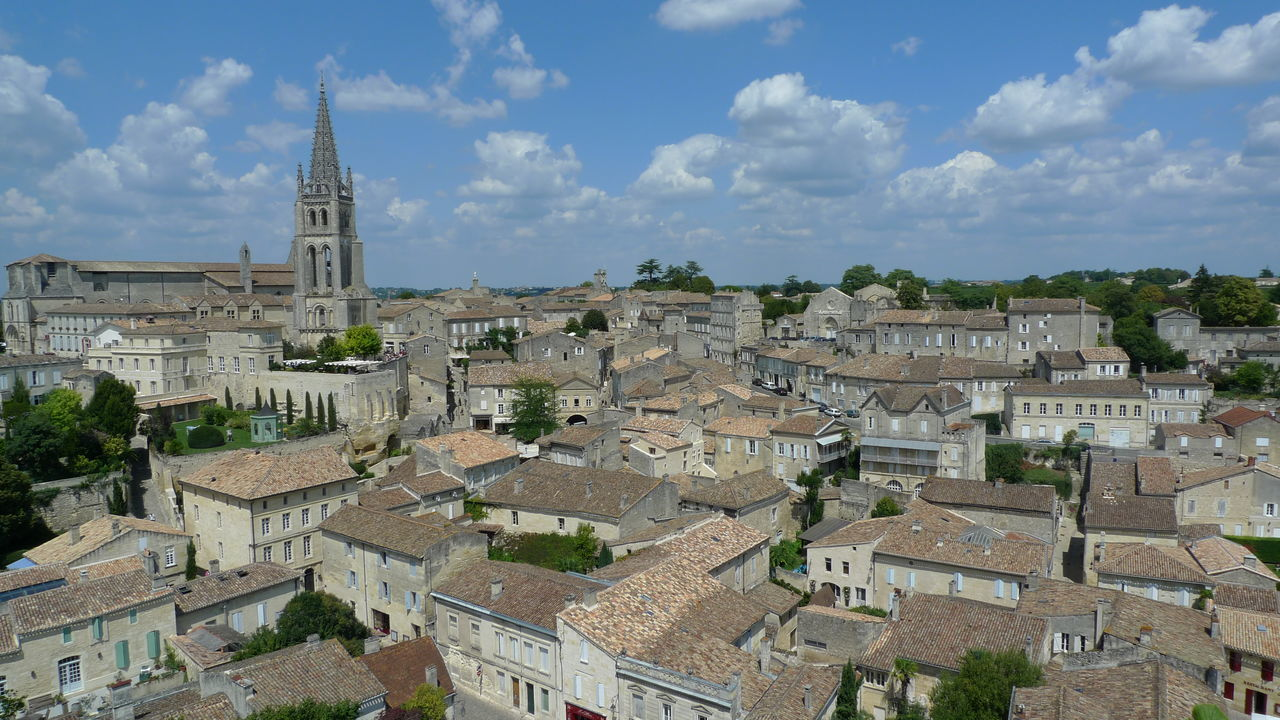 Saint Emilion cityscape Bordeaux Buildings And Sky City Cityscapes Clouds And City Historic Town Old Buildings Old Town Saint Emilion View Of City