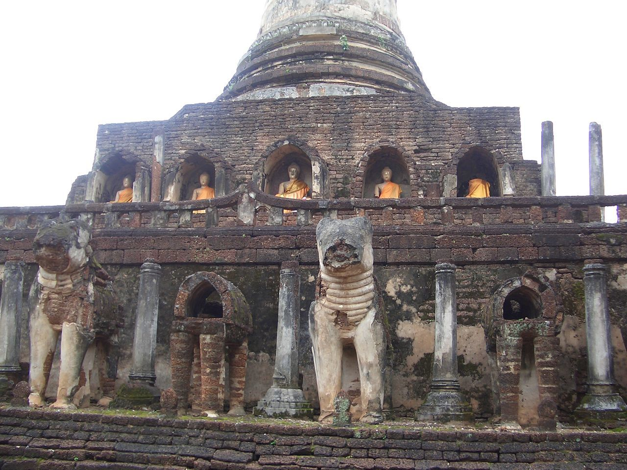 Architecture Building Exterior Built Structure Day History Low Angle View No People Outdoors Place Of Worship Religion Sculpture Sky Spirituality Statue Sukhothai Sukhothai, Thailand Sukhothaihistoricalpark Tourism Travel Destinations Wat Chang Lom BUDDHISM IS LOVE