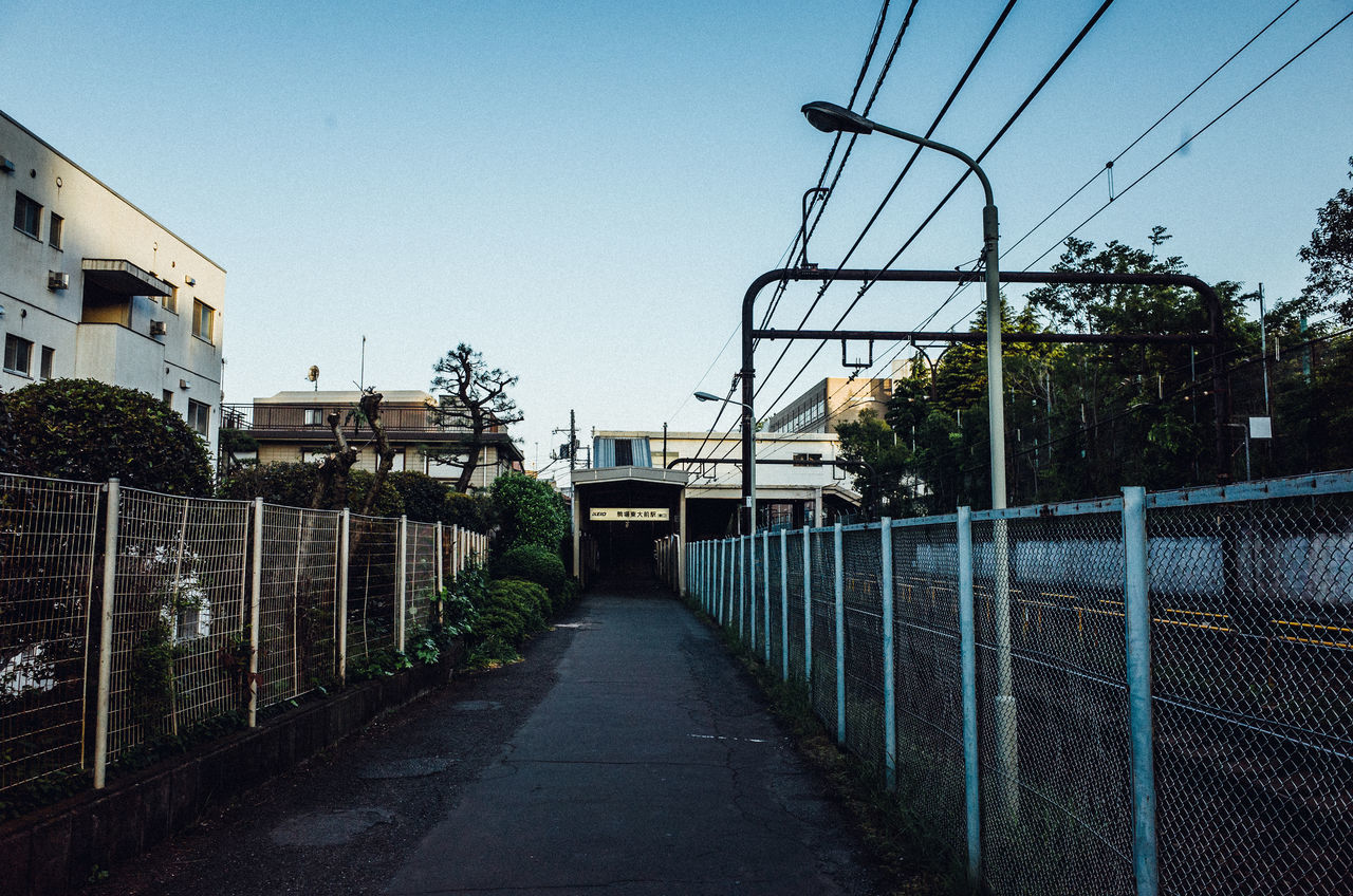Japan Lovers Way Power Lines Cityscapes Getting Inspired Eye4photography  Clear Sky Day Enjoying Life EyeEm Best Shots EyeEm Gallery EyeEmBestPics Hello World Japan No People Outdoors Perspective Railway Sky Street Photography Train Station Walking Around Landscapes Check This Out Fence