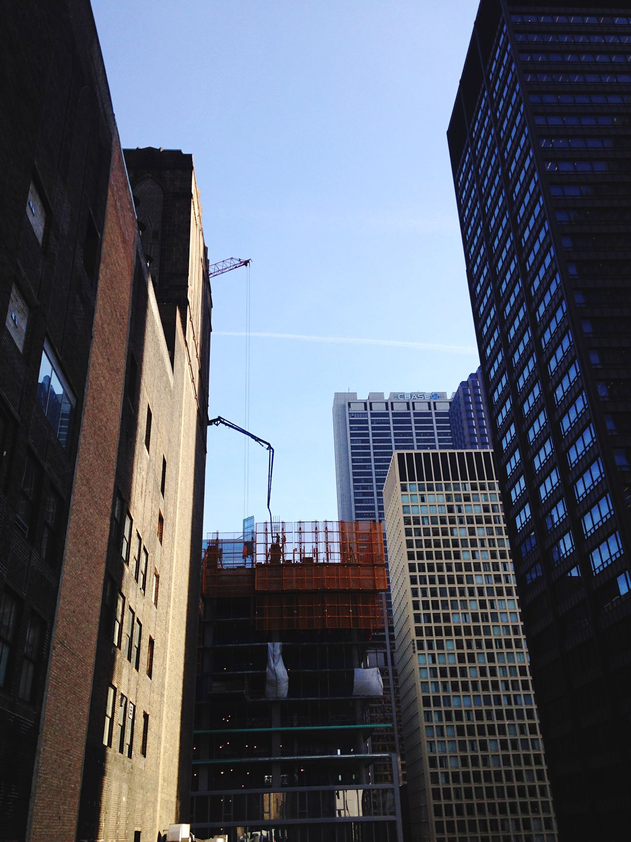 Looking Into The Future Old Brickwork New Construction Crane Sky Scrape Chicago Old Vs New IPhoneography