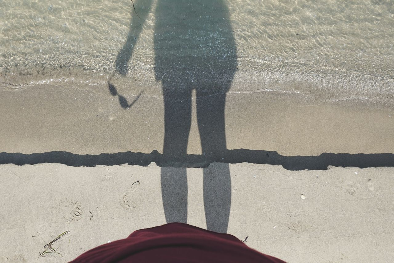 Half shadow | Me And My Shadow Red Dress Creative Light And Shadow Sea Water_collection The Essence Of Summer Still Life Point Of View Abstract Nature's Diversities The Great Outdoors - 2016 EyeEm Awards On The Beach Getting Inspired Seaside My Glasses Walking Waves Bibione Pineda EyeEm Italy |