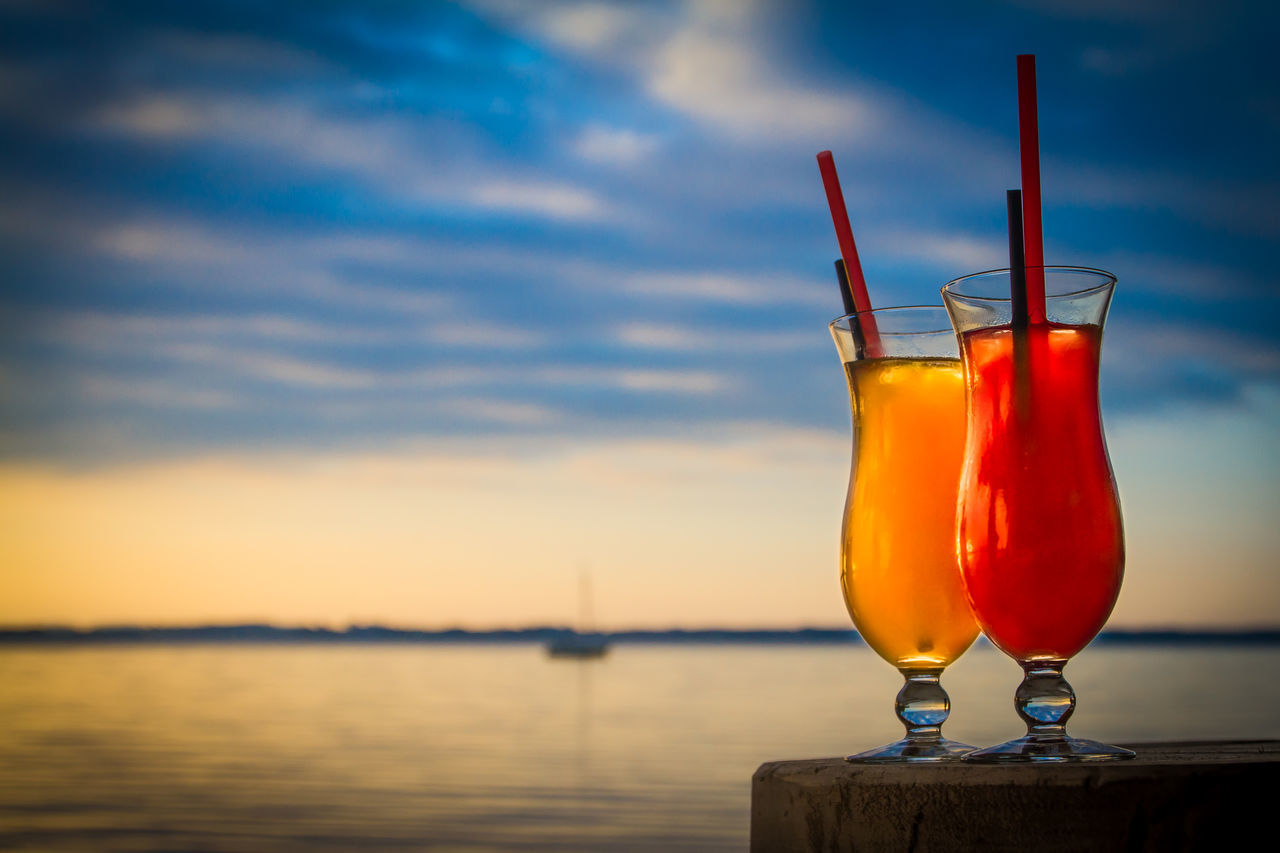 Cocktails Alcohol Cloud - Sky Cocktail Drink Drinking Glass Drinking Straw Freshness Fruits Love No People Outdoors Red Refreshment Sky Sunset