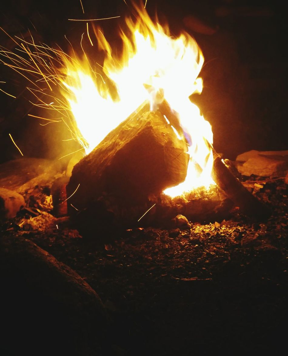 Bonfire Campfire Fire Flame Glowing Night Outdoors