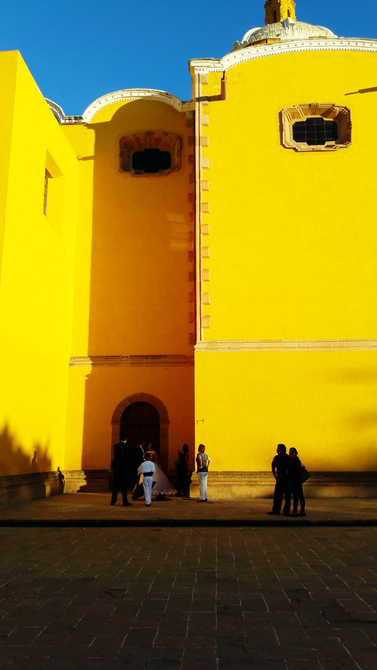 Popular San Luis Potosí Yellow Color Church People Watching