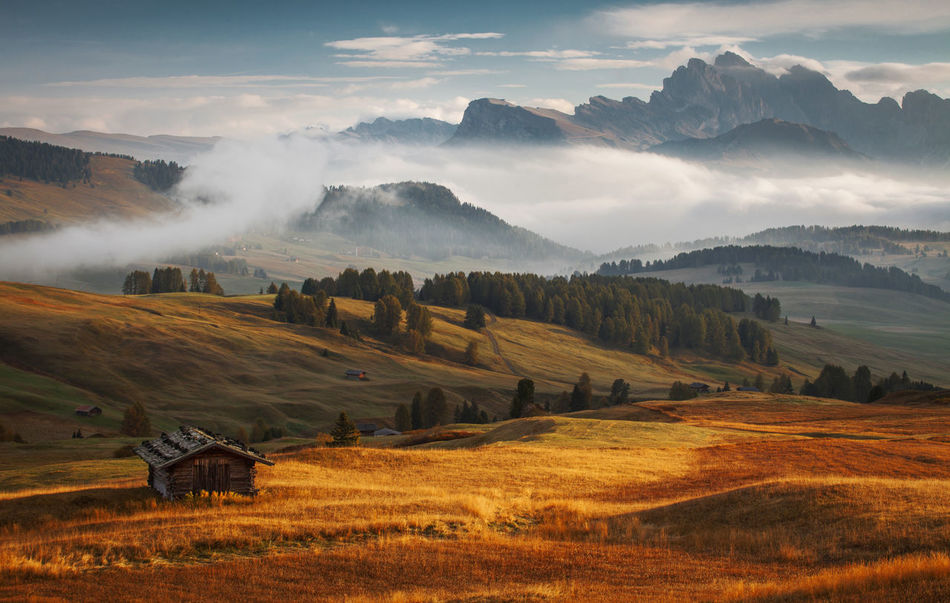 Beautiful stock photos of sunrise,  Agriculture,  Beauty In Nature,  Cabin,  Canazei
