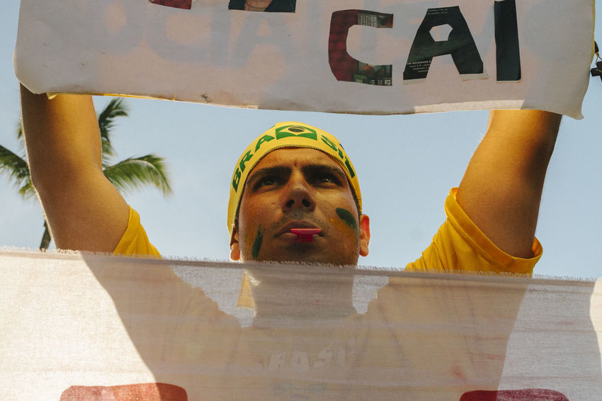 Arms Up Dilma Roussef Face Painting No Corruption Peacefull Protests Poster Presidential Impeachment Protests Protests In Brazil Ptsd Awareness Riot Sunny Day The Photojournalist - 2016 EyeEm Awards Yellow Shirts Fuji Astia