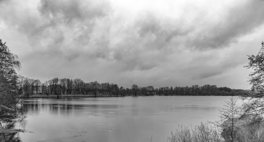Bare Trees Black & White Heavy Weather Landscape Landscape_Collection Light And Shadow Outdoors Reflecting Water Storm Clouds
