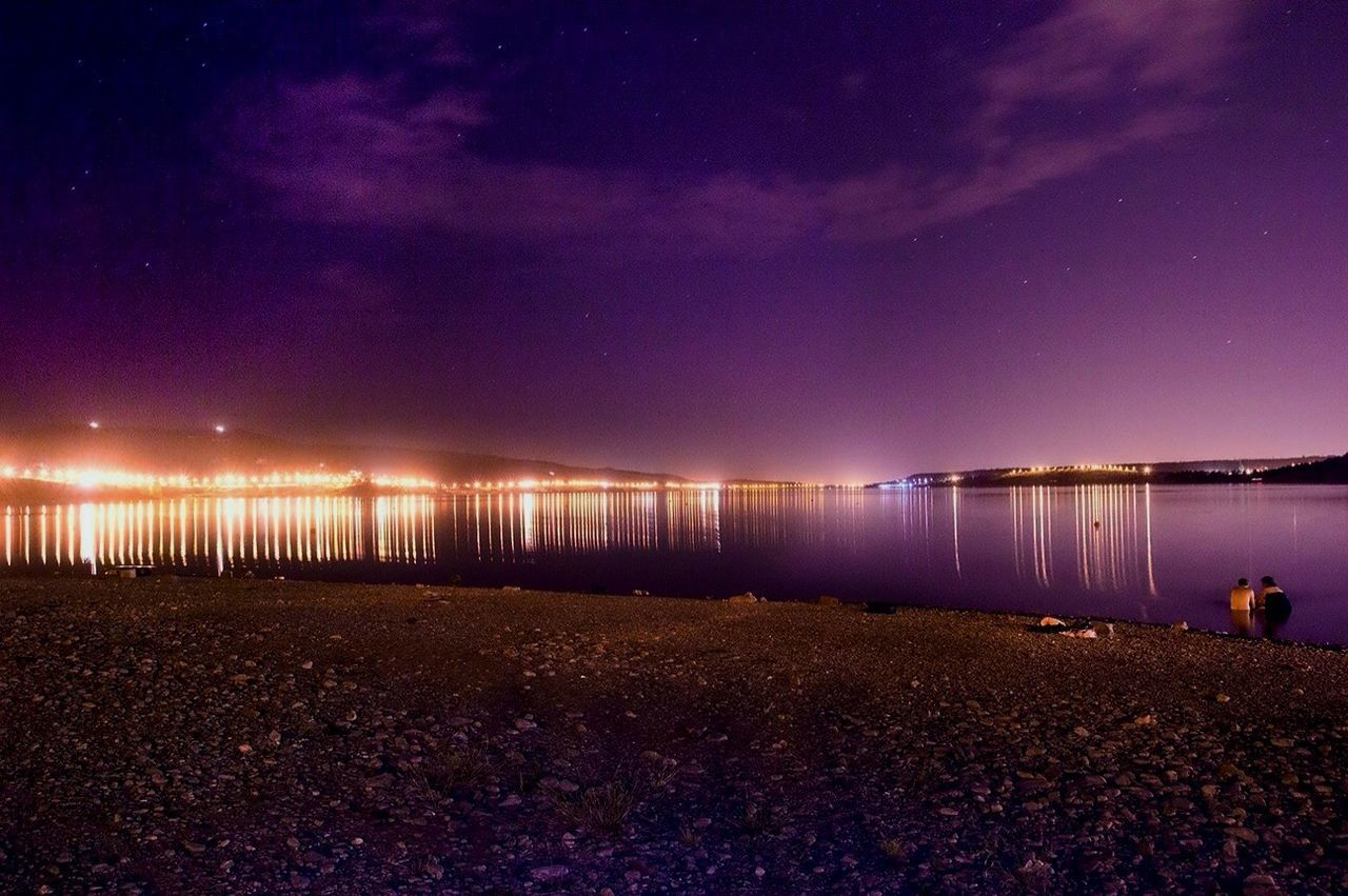 Sky Night Nature Water Tranquility Beauty In Nature Sea Outdoors Scenics Beach Illuminated No People