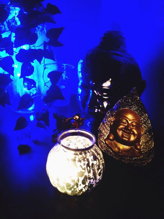 Buddha Indoors  Close-up Blue Person Illuminated Lit Decoration Creativity Burning Party - Social Event Human Finger Shiva Nightphotography Night Lights