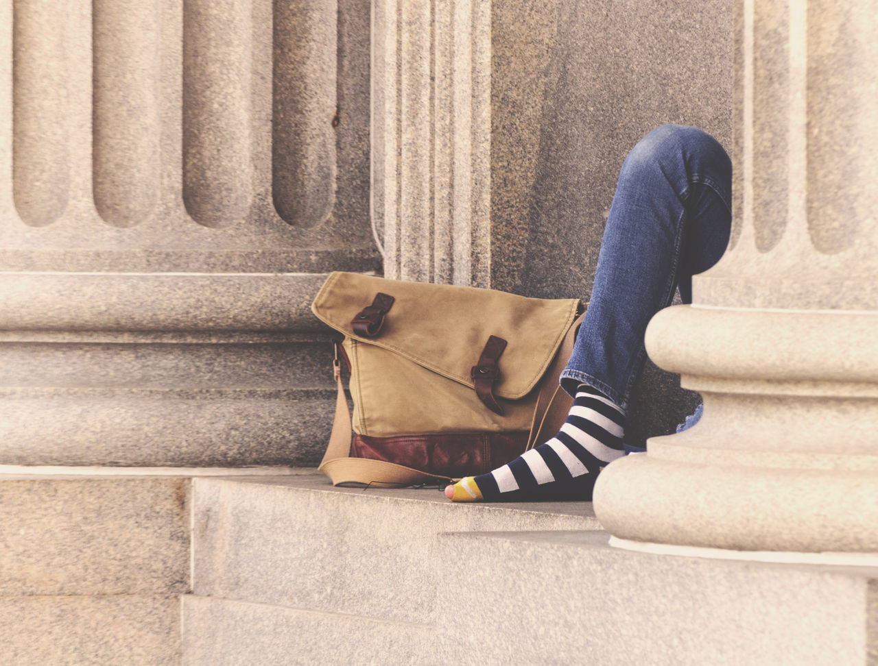 Alone Bag Beggar City City Life Concrete Day Foot Homeless Homelessman Homelessness  Hungry Man Outdoor Person Sad Socks Street Streetphotography Striped Stripes Pattern Unlucky Urban