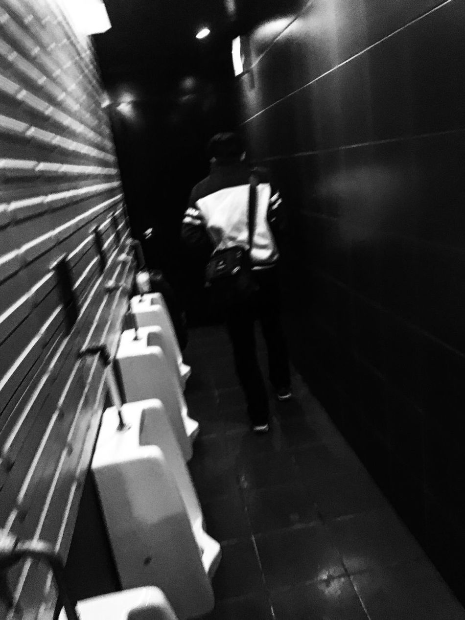 Streetphotography Streetphoto_bw Blackandwhite Photography Monochrome Blackandwhite DAIDOISM Candid Snapshot Toilet Leading Lines View From The Back Nightphotography Contrast Blurred Motion Light And Dark Leaving Photography In Motion Showing Imperfection