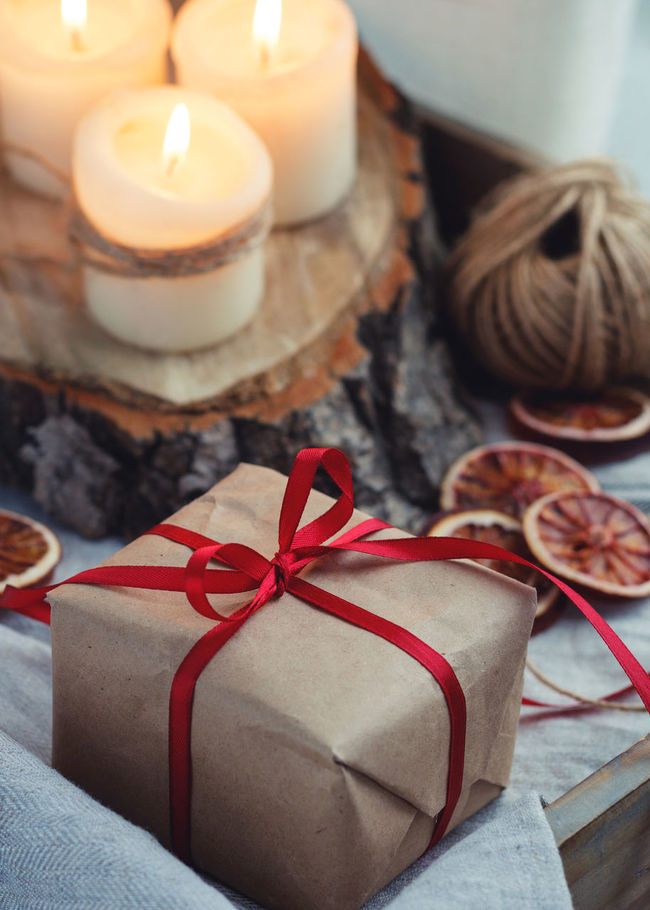 Candlelight Celebration Christmas Craft Crafts Decor Gift Holiday New Year Present Red Rustic Tape The Culture Of The Holidays Winter Wintertime Wood Wood - Material