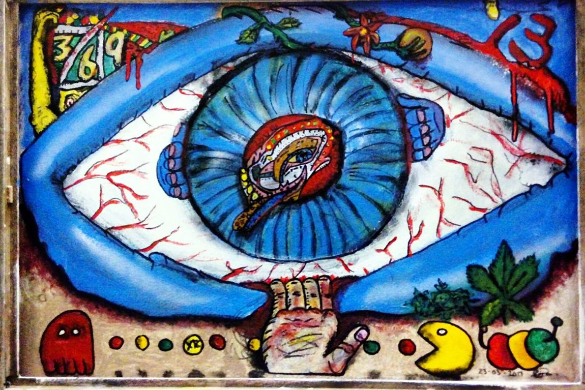 eye Human Body Part Arts Culture And Entertainment Blue Live For The Story Eye Trippy Red Yellow Green Xtc Pacman Pacman😜 Weed Ligalize Weedleaf 13 369=13