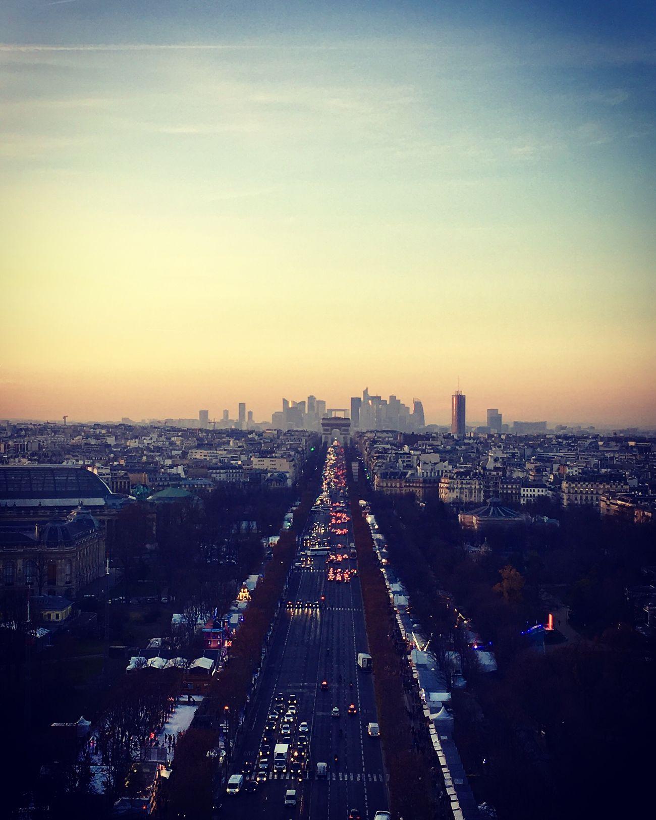 Paris City Skyline Grand Roue De Paris Place De La Concorde , Paris Champs-Élysées  Arc De Triomphe La Défense
