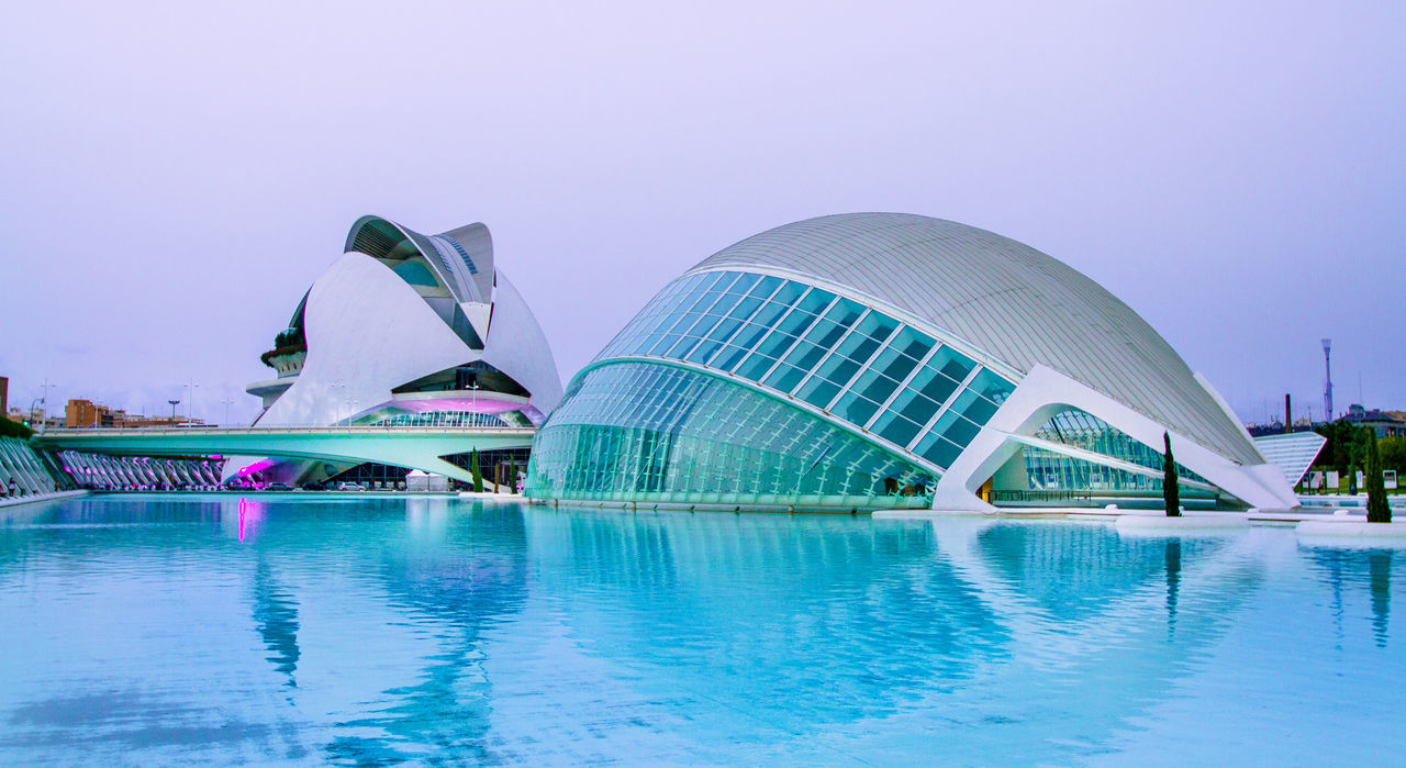 Architecture Arts Culture And Entertainment Bluehour City Modern Night No People Operahouse Outdoors Reflection Reflections Sea Sky Travel Travel Destinations Valencia, Spain Water