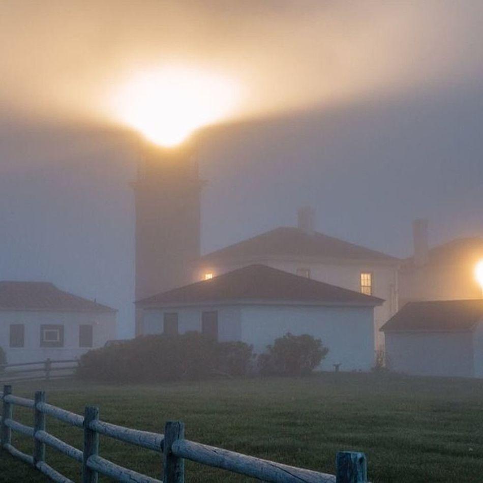 When Mother Nature gives you fog, grab your camera and go shoot! Lighthouse Fog Jamestownri Foggedin beavertail beavertaillighthouse