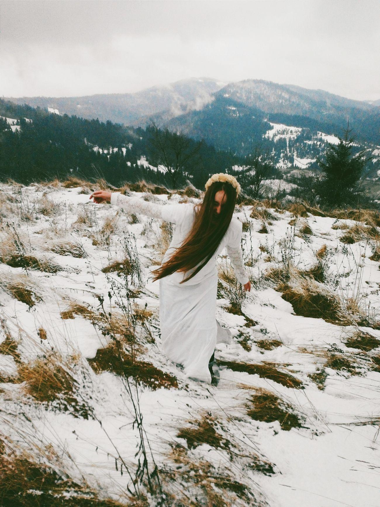 That's Me in Karpathian Mountains Ukrainian Girl Girl Landscape Nature Traveling Journey Snow