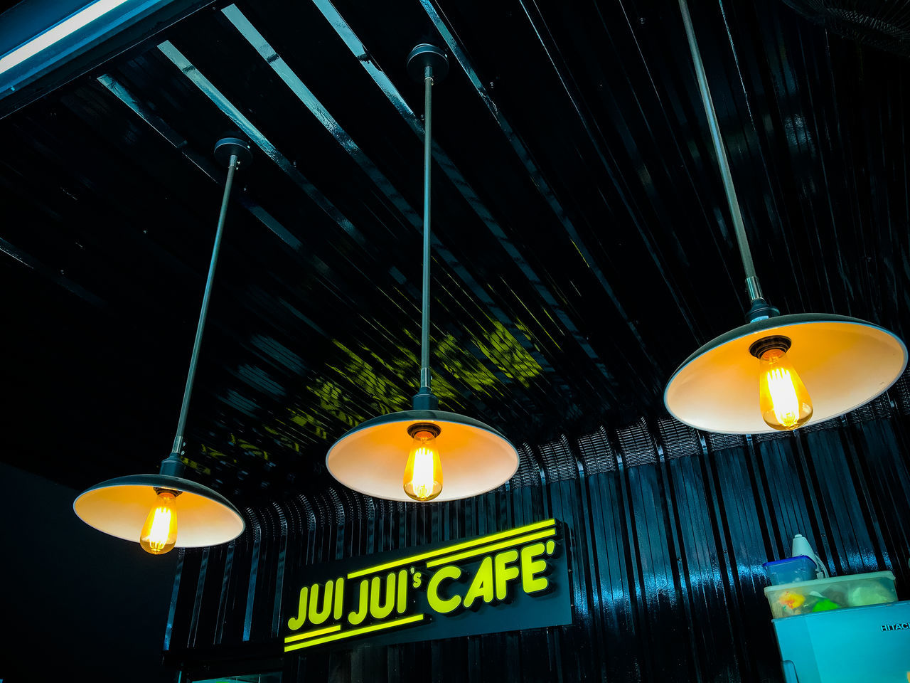 Architecture built structure Ceiling decoration electric lamp electric light electricity glowing Hanging illuminated indoors lamp Lantern light - natural phenomenon light bulb Lighting equipment lit Low angle view night Street Light cafe coffee break