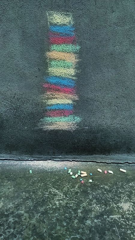 My daughters creAtion :)) Creativity Chalk Art No People Chalk Pastel Art  Colors Like A Dream Rainbow Pastel Colors Colored Chalks EyeEmNewHere