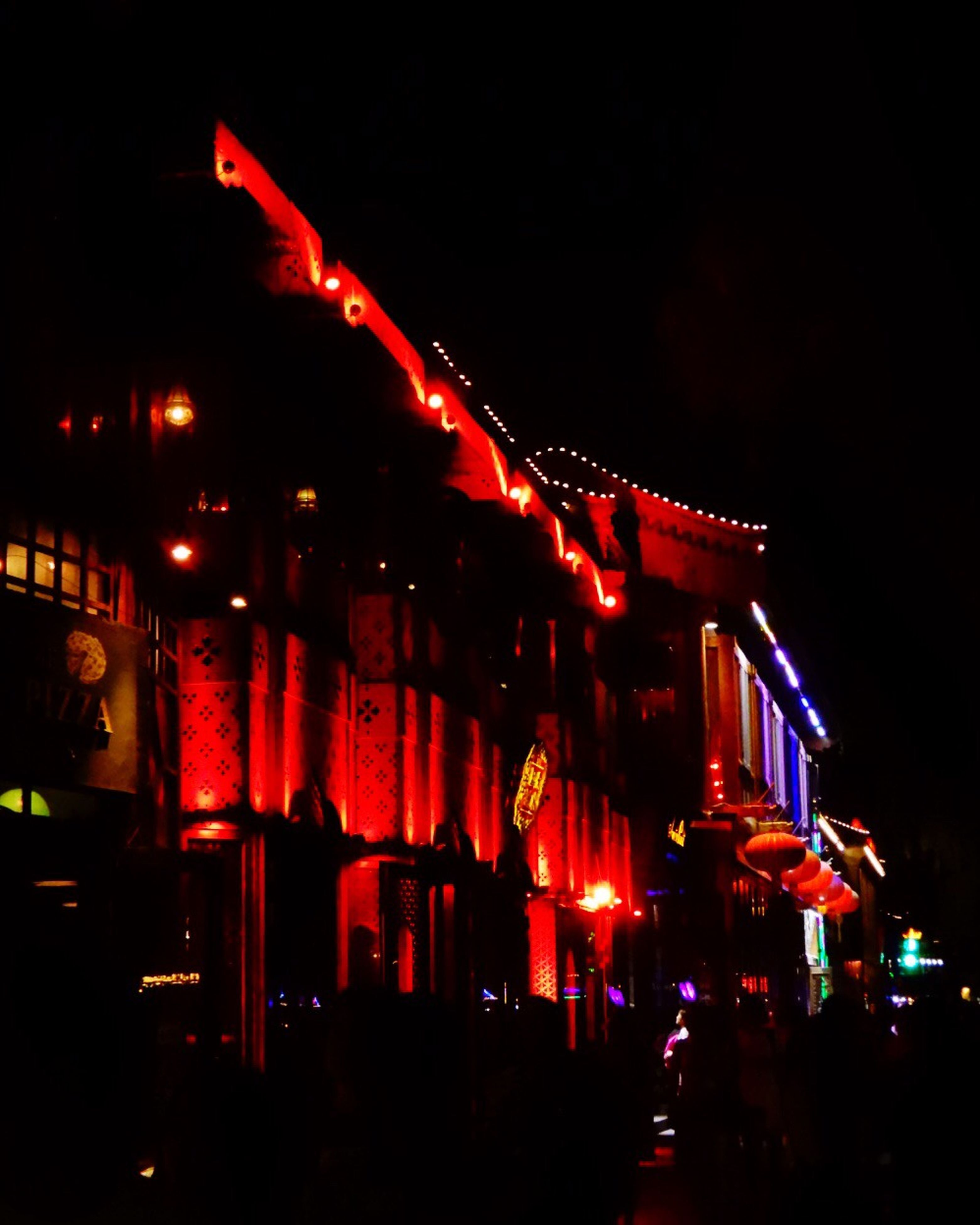 illuminated, night, red, outdoors, sky, built structure, no people, architecture, building exterior, nature