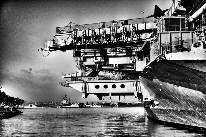 Midway in black and white Enjoying Life Veterans Day Military Uss Midway Museum San Diego Ca USS Midway And San Diego  Blackandwhite Photography Black And White Photography Military Ship Veterans To Remember
