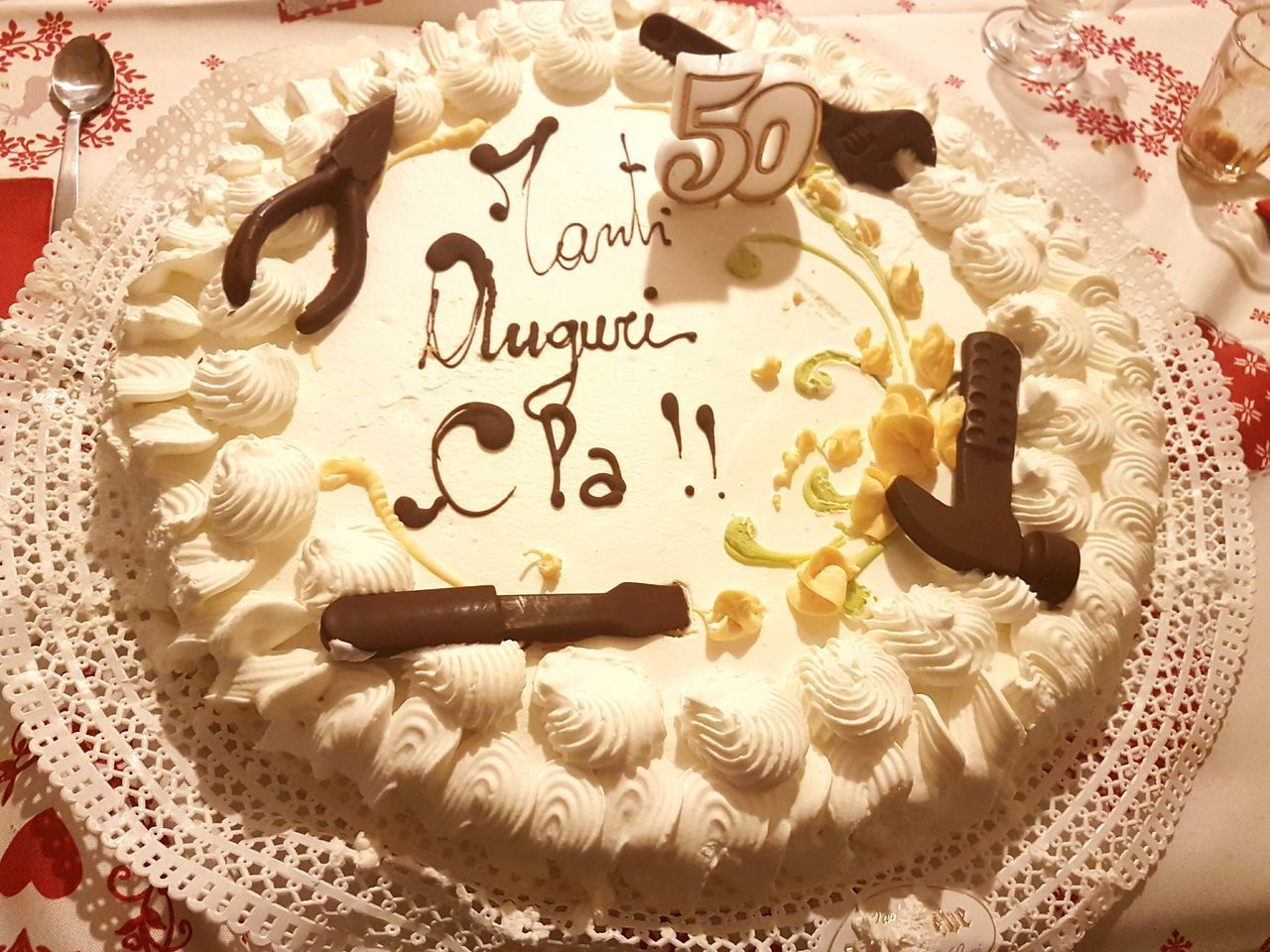 Text Close-up No People Indoors  Handwriting  Day Simplicity Is Beauty. Express Yourself ❤ Novi Ligure Italy Birthday Cake 50 Years Old Chocolate Tools Yellow Flower Decoration Happy Birthday In Italian Italian Words