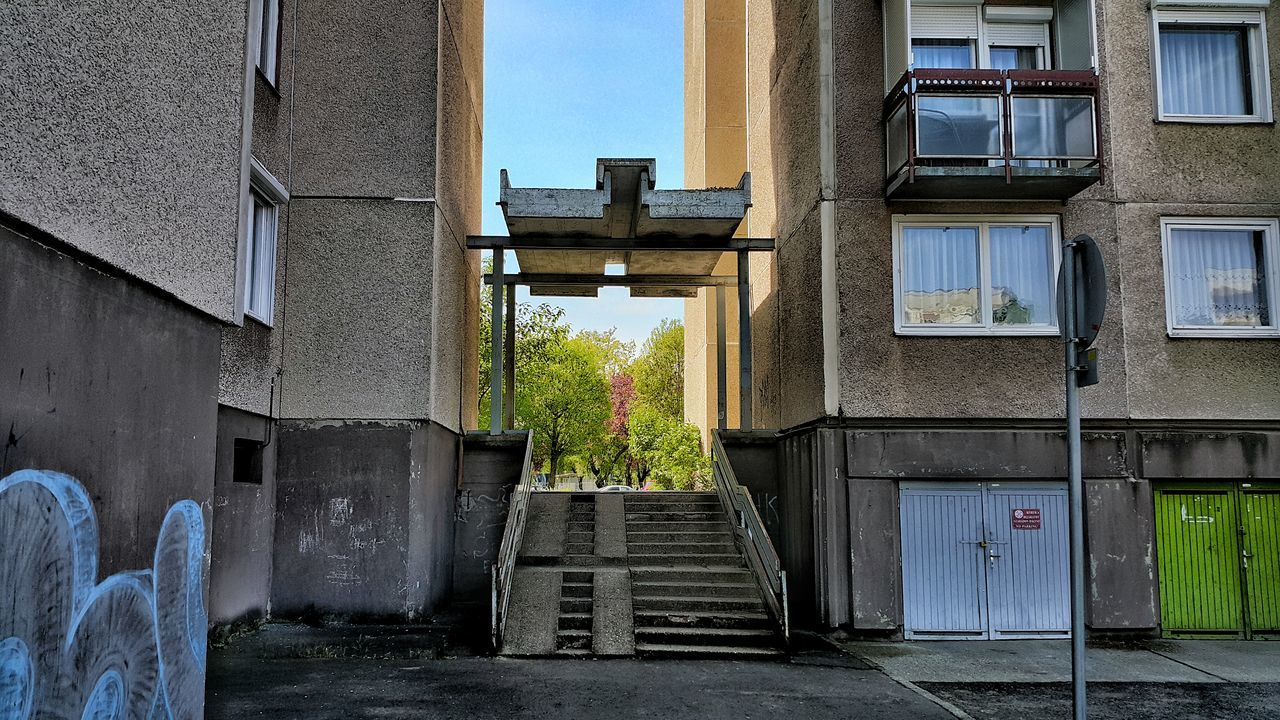 Apartment Architecture Balcony Block Of Flats Building Building Exterior Buildings Built Structure City Colors Day Graffiti HDR Hungary No People Outdoors Sky Step Sunshine Tree Trees Trees And Sky Urban Window Windows