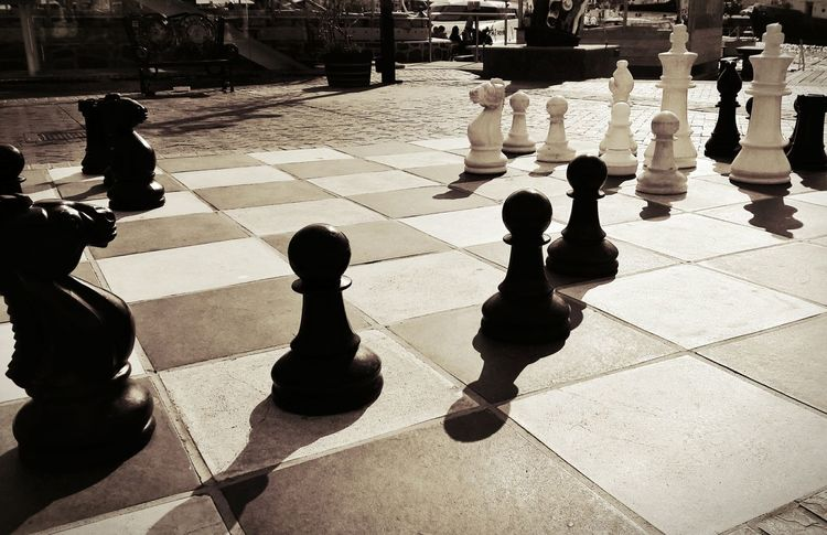 Chess Chess Piece Chess Board Shadow Leisure Games Outdoors Chess Game Chessboard Chessgame Chess Figures Knight - Chess Piece Giant Chess EyeEm Selects Your Ticket To Europe