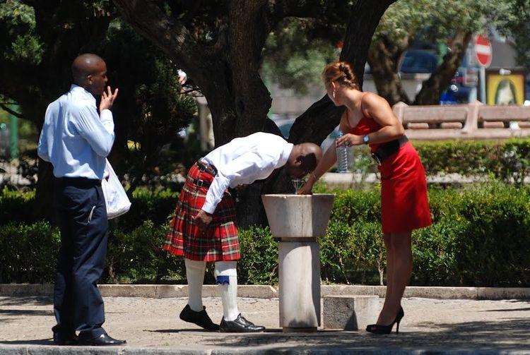 Black Man Casual Clothing Fun High Heels ❤ Kilt Lady In Red Lifestyles Men Protrait Pretty Woman Scot Water Dispenser Women