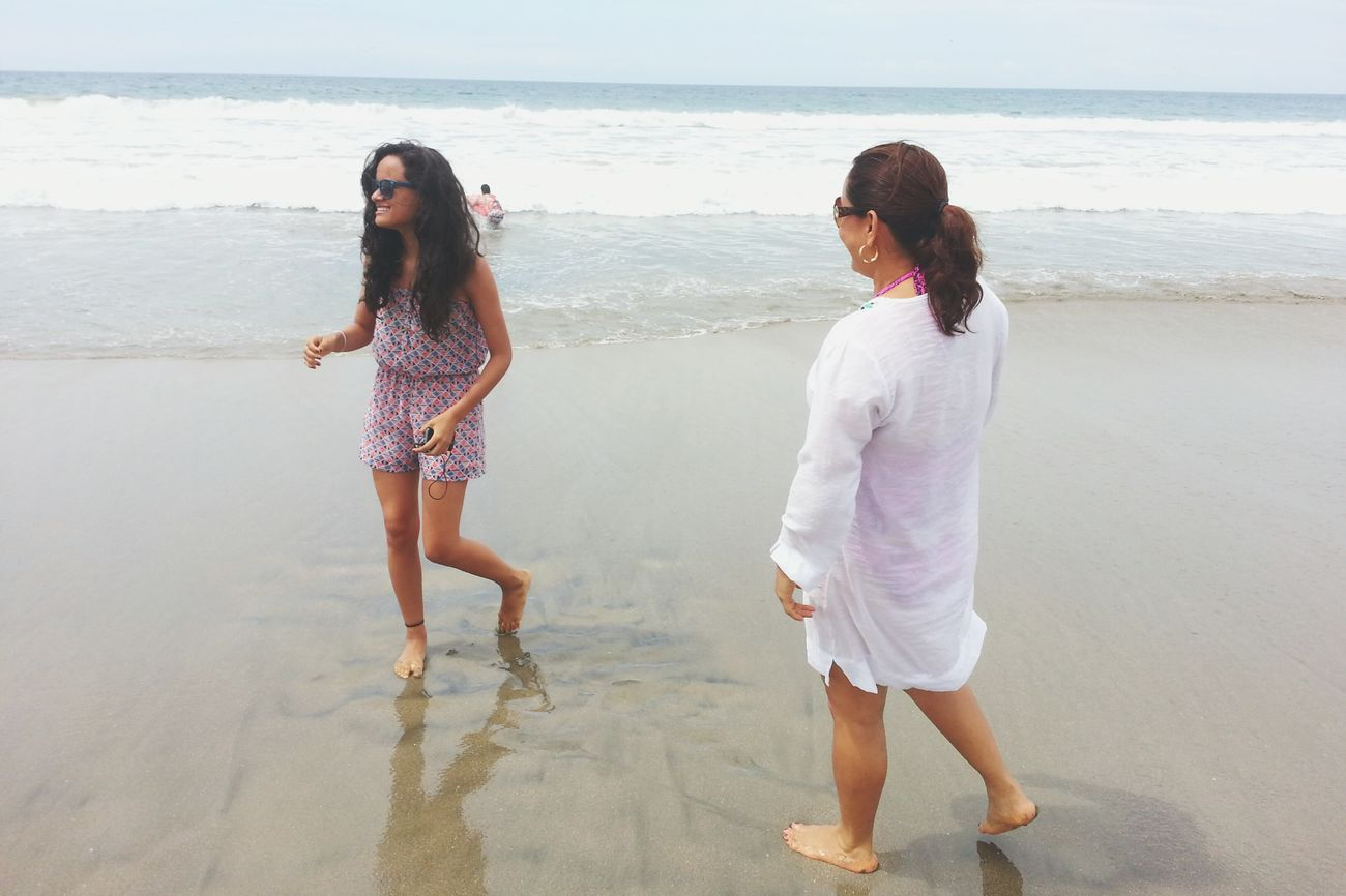 My mom makes me laugh. ^-^ On The Beach My Mom And I ♥ Laughing
