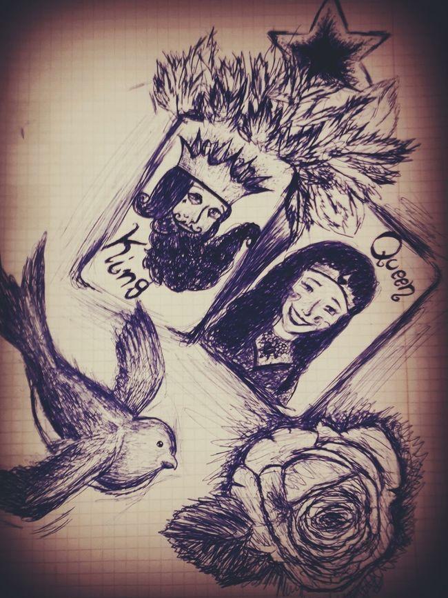 My Drawing My Draw Art Artdraw Happy Stonedeyes King&queen Rose🌹 Bird