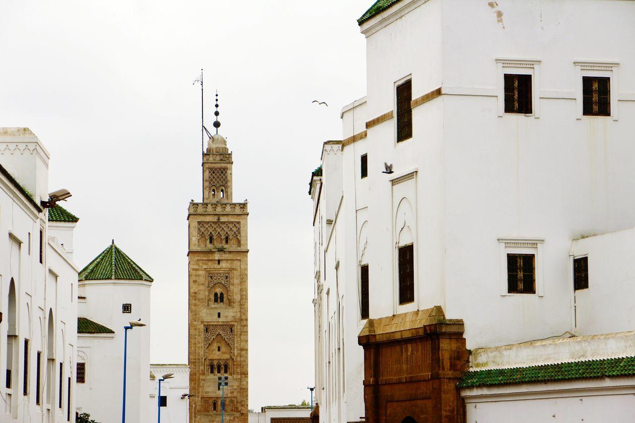 The new Medina of Casablanca! Travel Destinations Architecture City History Clock Sky Clock Tower Clock Face Medina Casablanca Marrakech Morocco Market Backgrounds Mosque City Life Religion Streetphotography Street Photography Street Building Exterior Cloudy White City View