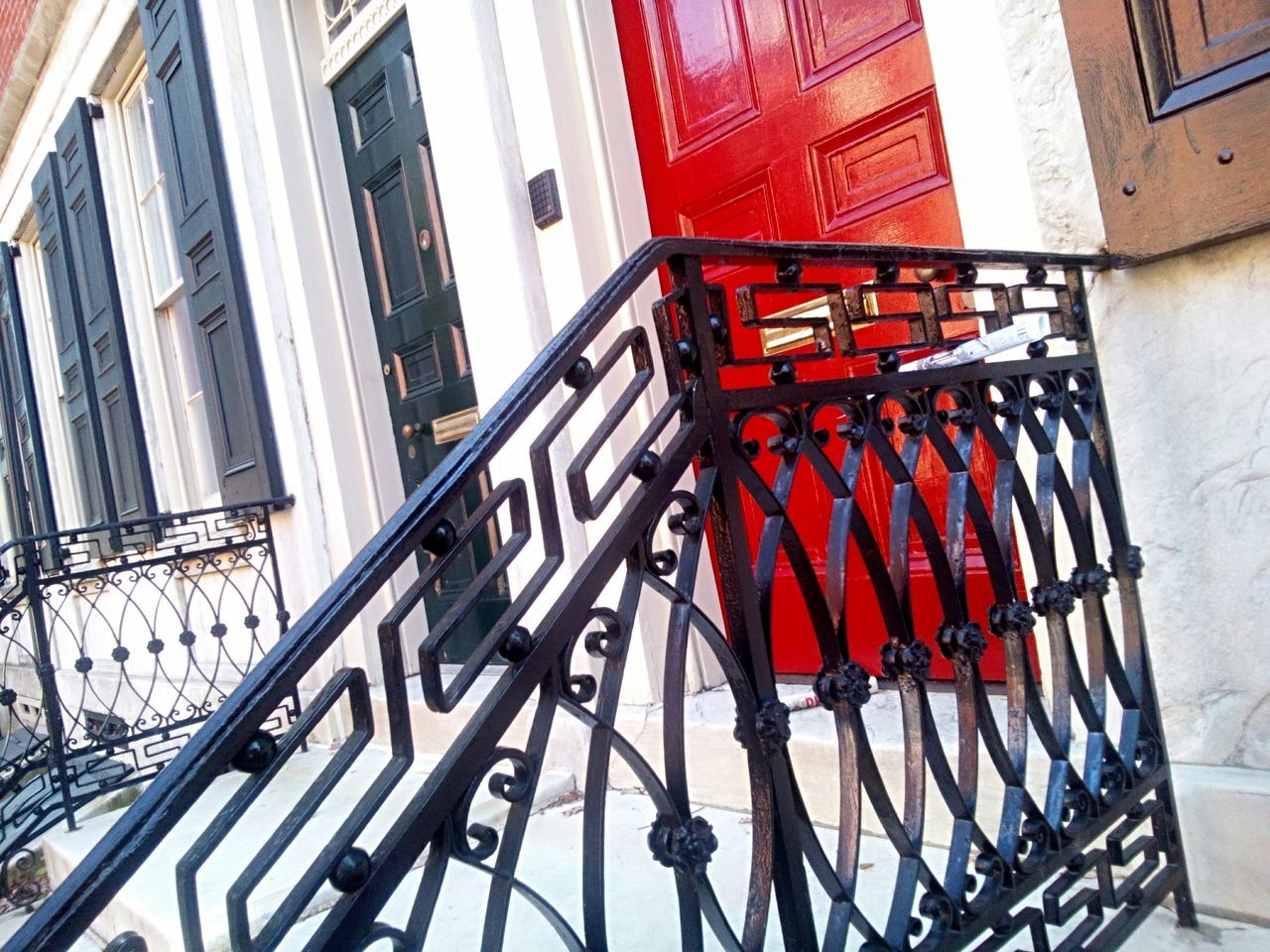 Red Home Exterior Wrought Iron Railing