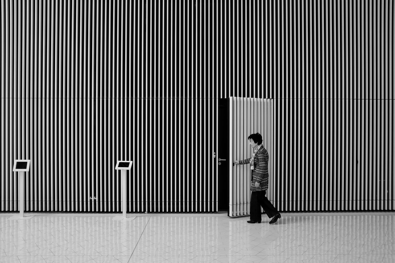Closing time. Architecture Black And White Blackandwhite Door Lines Minimalism Poland Stettin Streetphotography Szczecin Wall - Building Feature Woman The Architect - 2016 EyeEm Awards