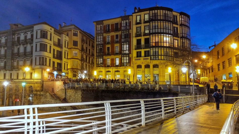 Illuminated City Building Exterior Night Outdoors Hanging Out Bilbaolovers Bizkaia Blue Hour My Year My View