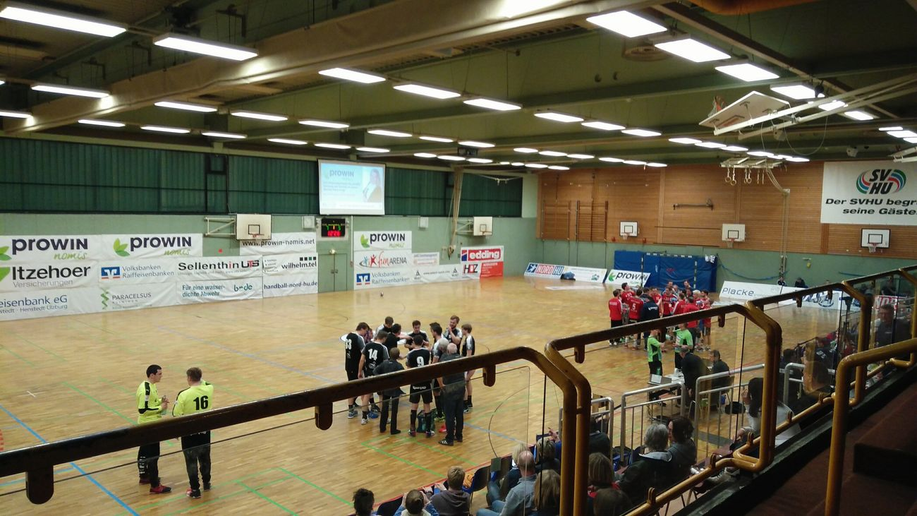 Before the Handball Match. · Henstedt-Ulzburg Germany Svhu Hu Altjührden Game Ball Game Match Day Hall TEAMS Fans People Preparation  Discussion Anticipation Lighting From The Ranks