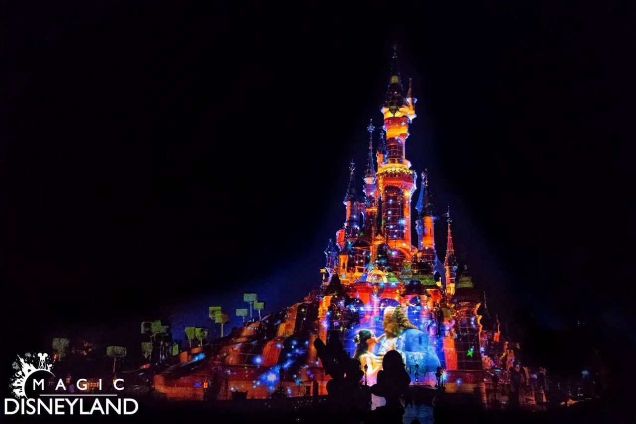 Night Illuminated Multi Colored Amusement Park Disneyland Resort Paris Disneyland Paris Firework Display Disneyland Disney Celebration