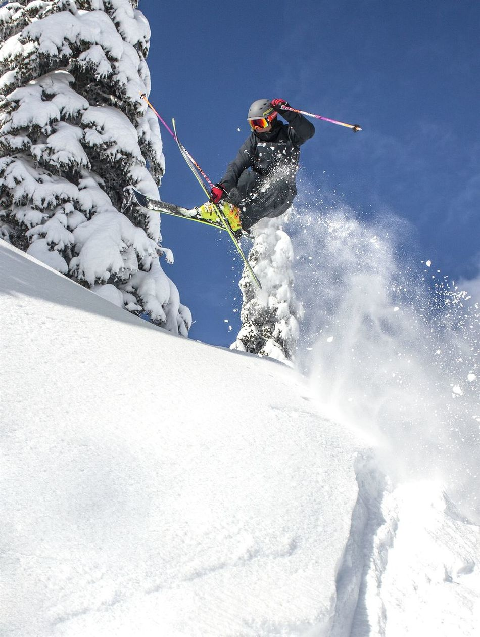 Snow Winter Full Length One Person One Man Only Skill  Leisure Activity Outdoors Extreme Sports Vacations Weekend Weekend Warrior Ski Skiing Freeride Freeride World Tour Mountain Sports Winter Sports Powder Snow Aerial Silks Ski Trick Ski Jump Sunny Day Outdoor Sports Adventure Sports