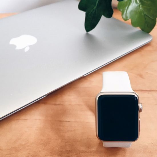 Modern Design Plant Technology Intelligent Computer Comouter Wereable IWatch Watch Apple Table EyeEm Selects Indoors  High Angle View No People Portable Information Device Wireless Technology Technology Close-up