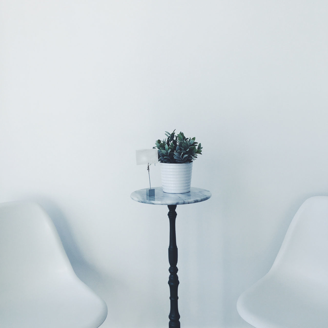Table in a modern, minimalistic setting in St. Petersburg, USA. Chair Day Florida Indoors  Indoors  IPhone IPhoneography Marmo Minimalist No People Plant Simplicity Square St Petersburg Table USA White Background White Color
