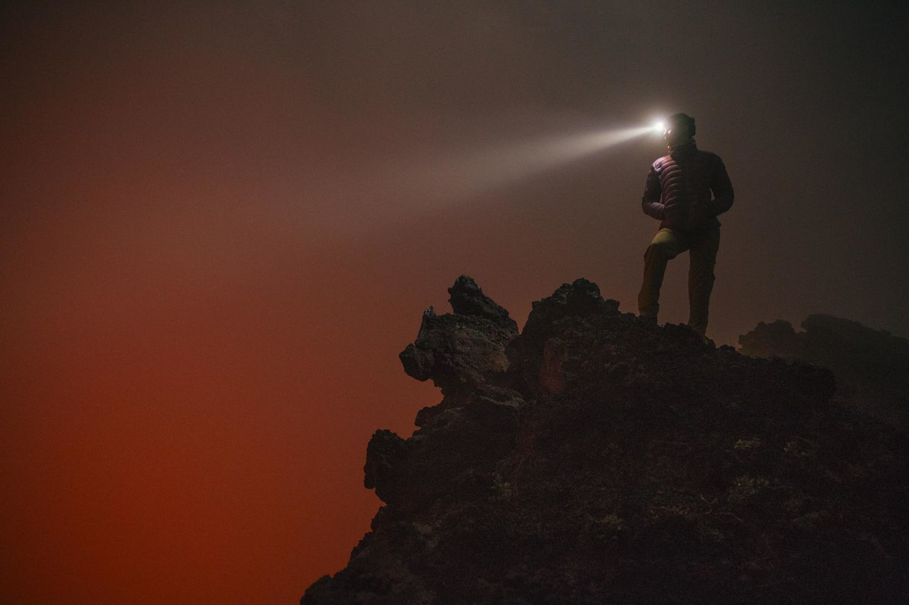 Adult Adventure Africa Democratic Republic Of The Congo Female Fog Hiking Illuminated Landscape Light Trail Long Exposure Long Exposure Shot Mist Mountain Mountain Peak Mountain View Night Orange Colour Outdoors Red Silhouette Sky Virunga Volcano