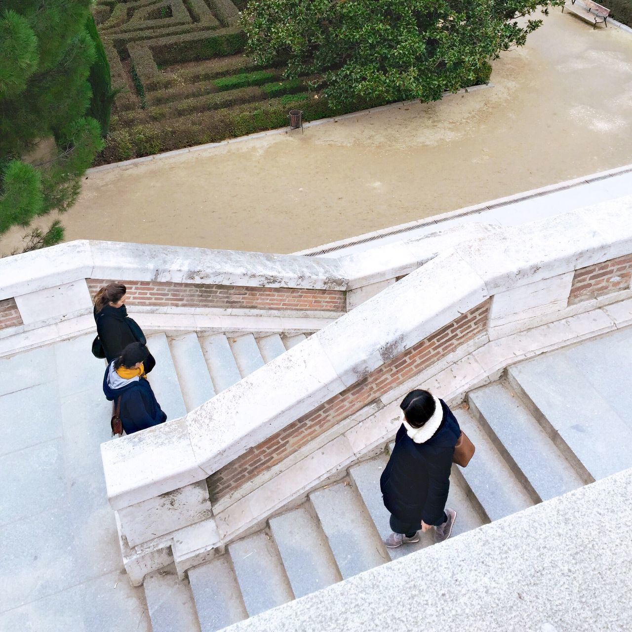 Steps And Staircases Steps Two People Staircase Railing High Angle View Women Outdoors Young Women Architecture Day Madrid